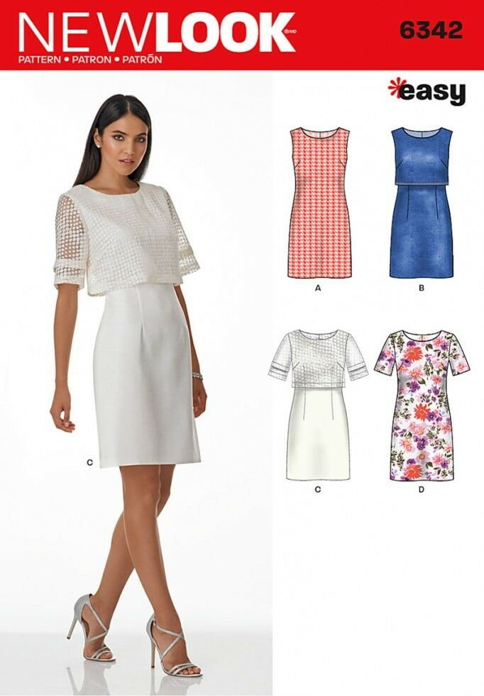 NEW LOOK LADIES Easy Sewing Pattern 6342 Simple Shift Dresses ...