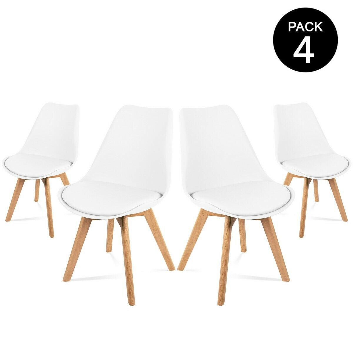 lot de 4 chaises retro blanches rembourr es design nordic tulip mchaus eur 89 99 picclick fr. Black Bedroom Furniture Sets. Home Design Ideas