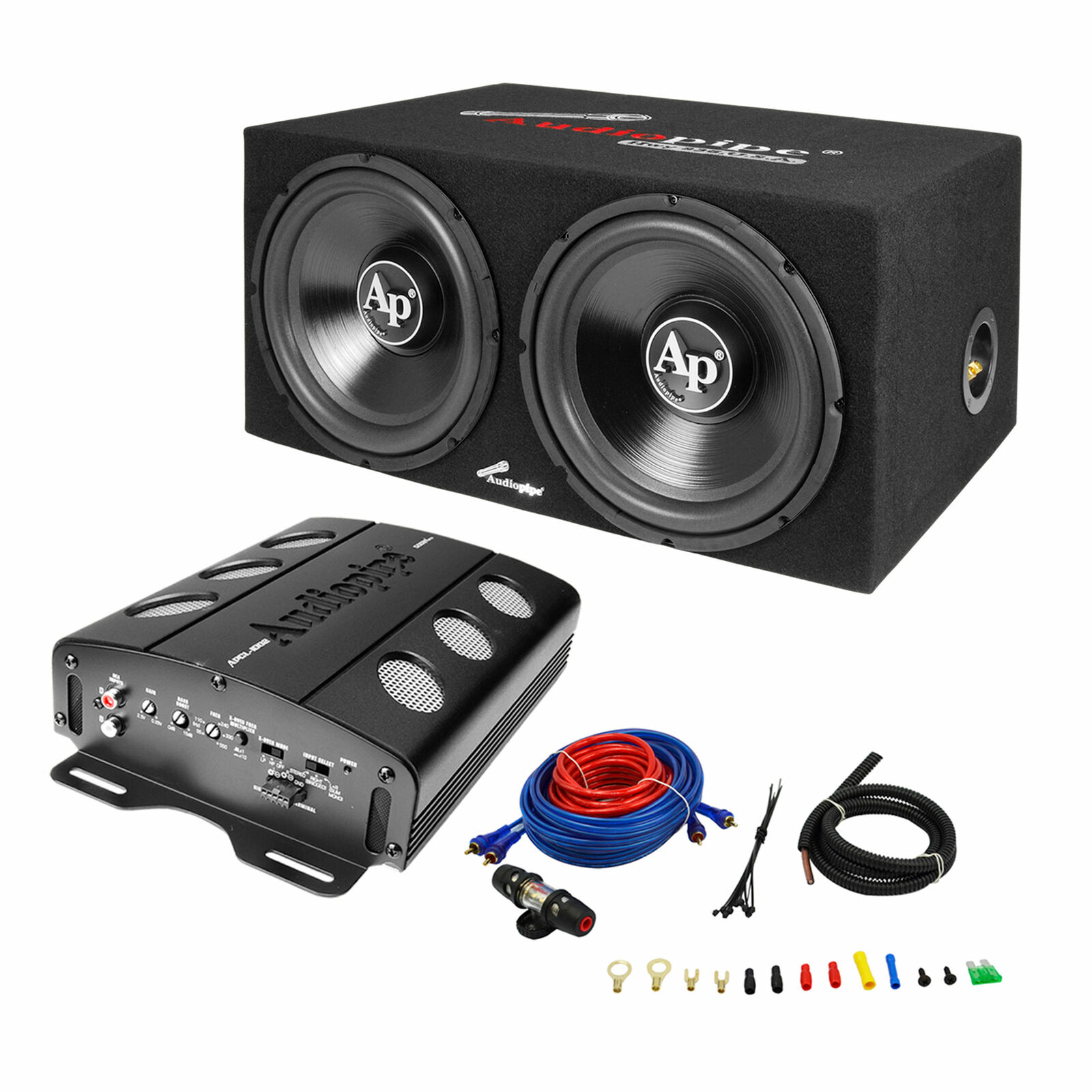 Audiopipe Apsb 1299pp Loaded Dual 12 Subs Amp And Wire Kit Car Audio Wiring For Package 1 Of 5only 4 Available See More