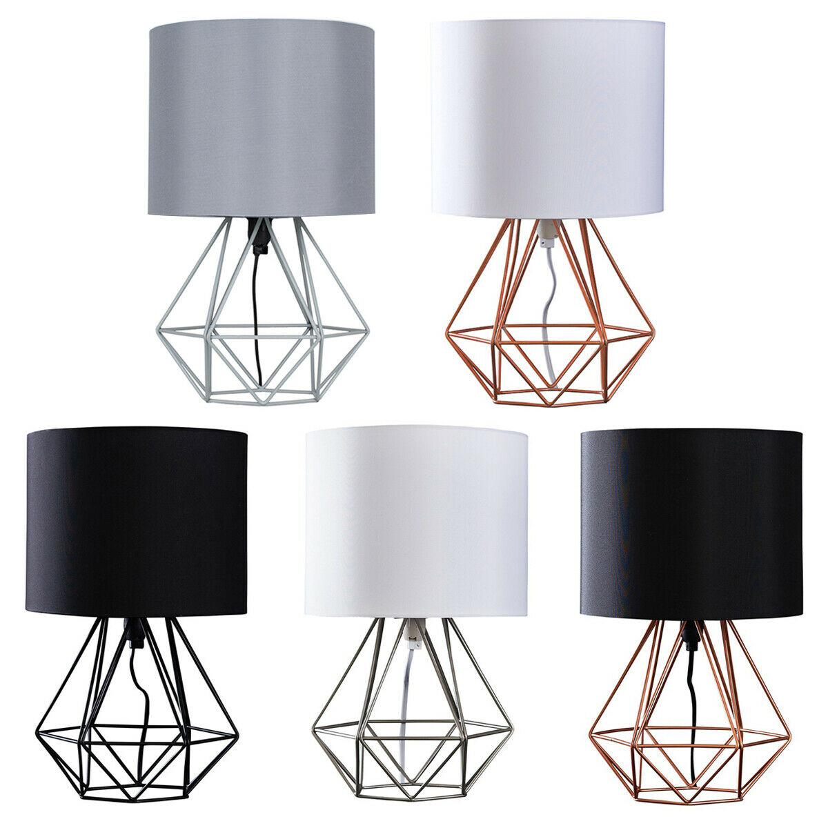 Geometric retro style wire cage table lamps bedside lights copper 1 of 1free shipping greentooth Gallery