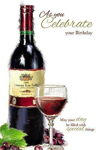 Celebrate Your Birthday Red Wine Bottle And Glass Male New Greeting