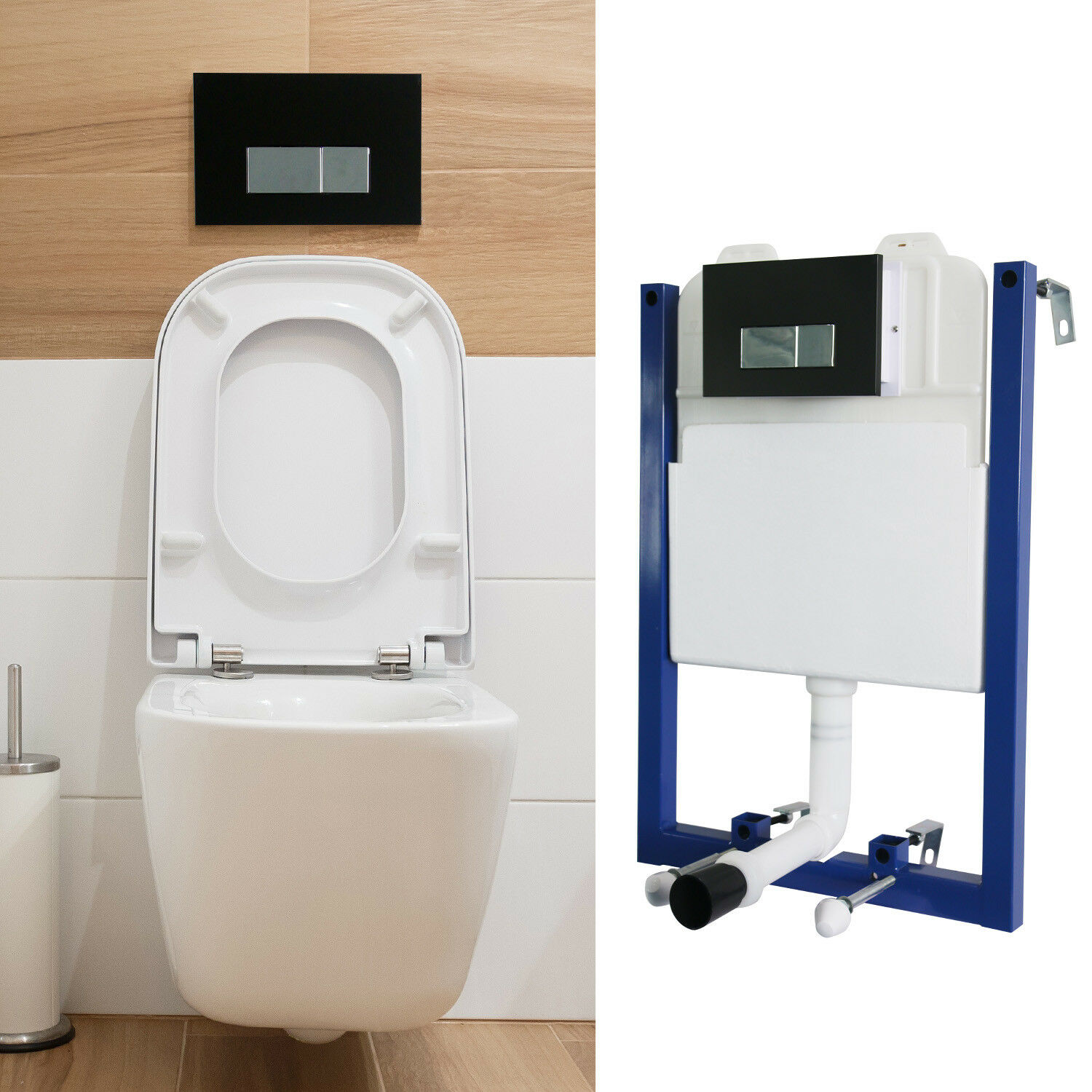 CONCEALED CISTERN WATER Tank Rack Dual Flush Wall Hang Toilet ...