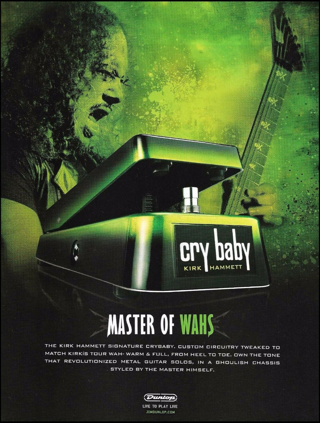Metallica Kirk Hammett Signature Cry Baby Wah Pedal Ad 8 X 11 1993 1 Of See More