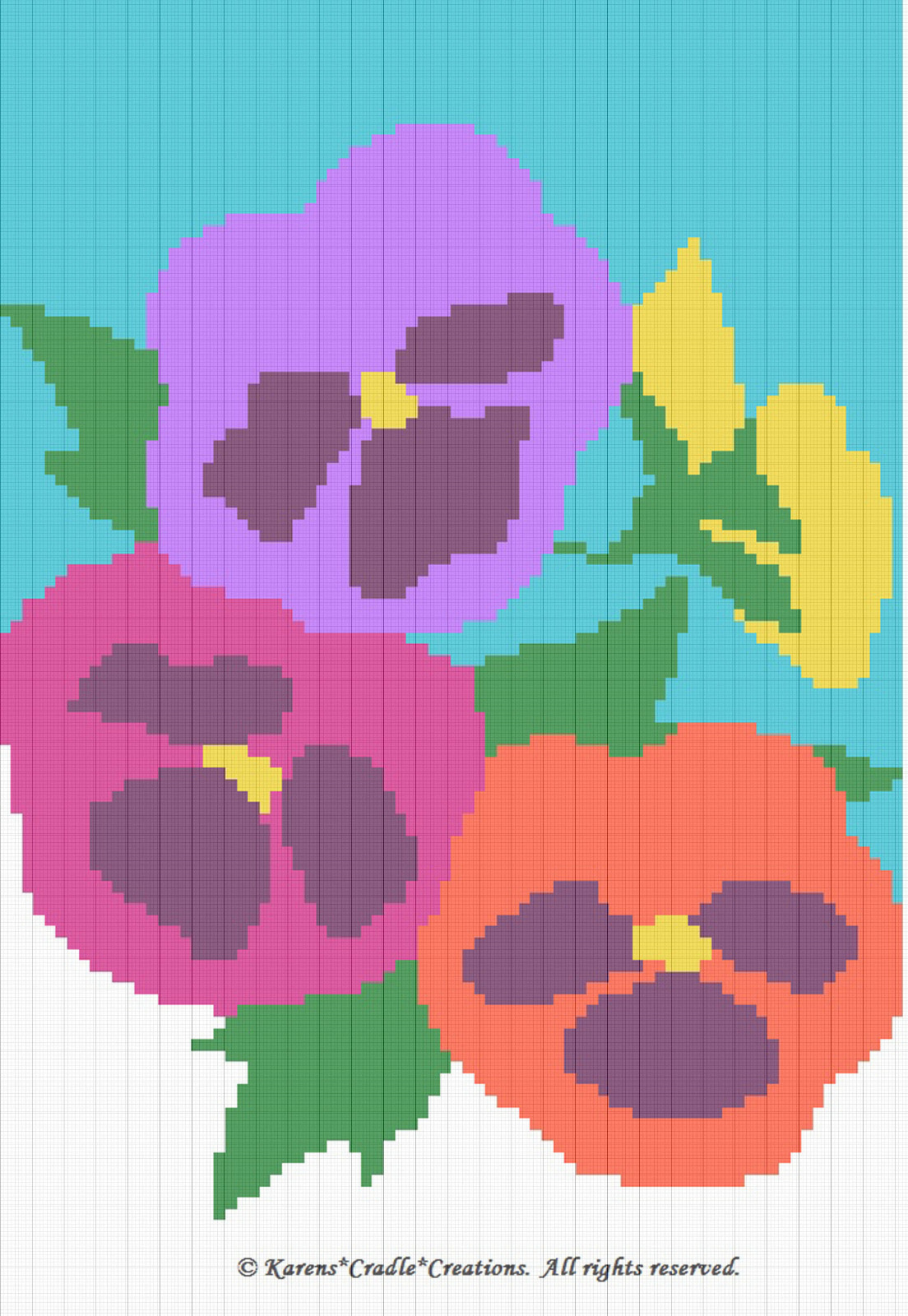 Afghan Crochet Pattern Graphs : Crochet Patterns - PANSIES Color Graph Afghan Pattern USD6 ...