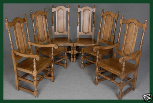 Six (6) Solid Oak Panel Back Dining / Kitchen Chairs