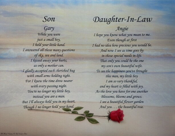 Son daughter in law personalized poems christmas gift