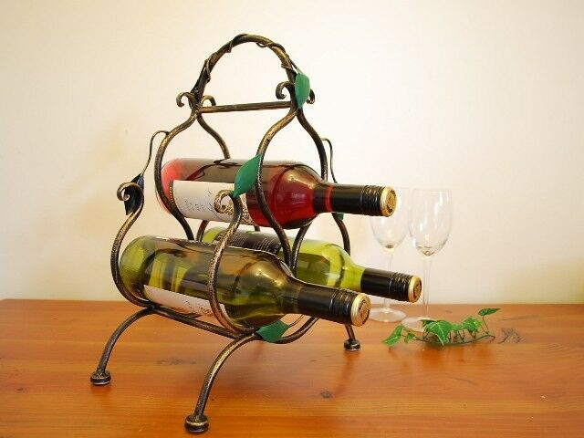 Wrought Iron French Vintage Swirly Vine Wine Rack Stand