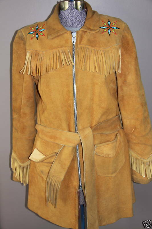 Native American Womens  Leather and Beaded Jacket