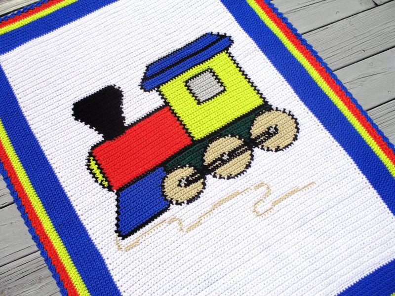 Knitting Pattern For Toy Train : Crochet Patterns - TOY TRAIN Baby afghan pattern   USD6.00 - PicClick