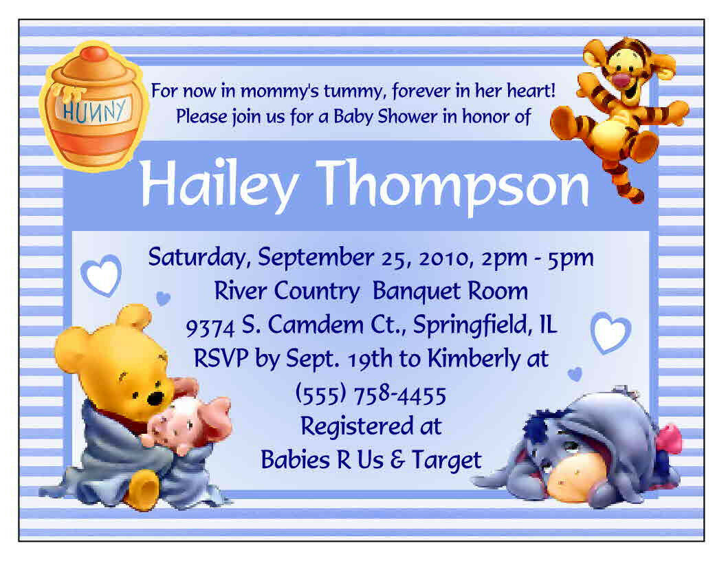 20 WINNIE THE POOH BABY SHOWER INVITATIONS - CUSTOM