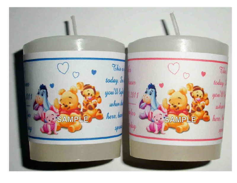 14 Winnie The Pooh Baby Shower Favors Votive Candle Labels 450