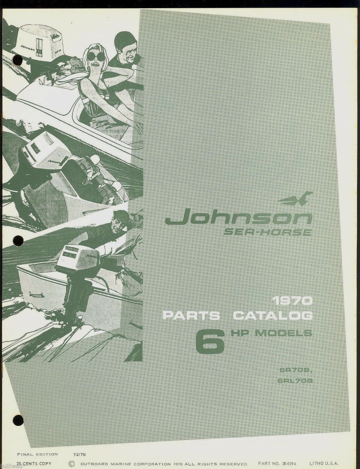 1970 Johnson 6Hp Outboard Motor Parts Manual / 384394 1 of 1Only 1  available ...