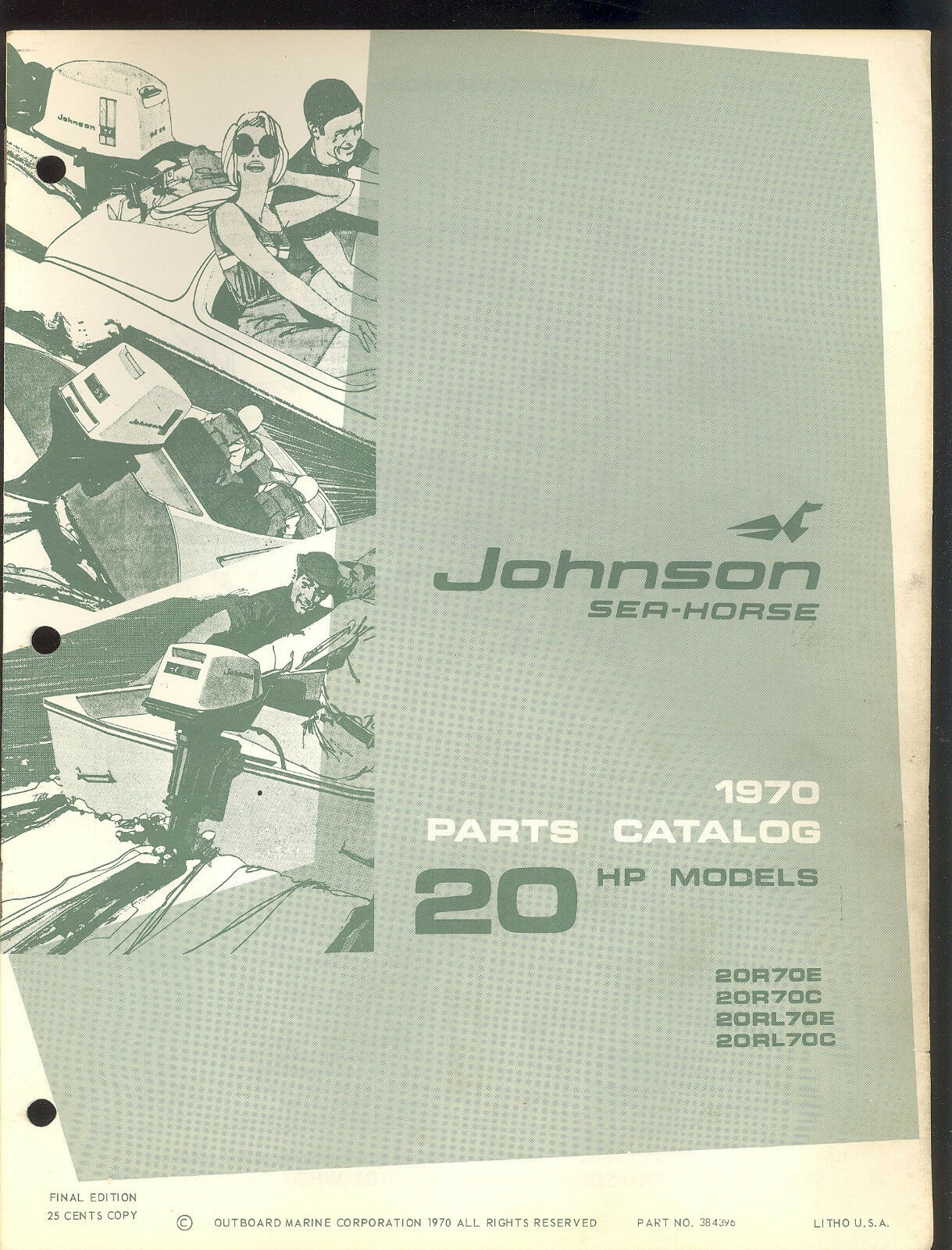 1970 Johnson 20Hp Outboard Motor Parts Manual / 384396 1 of 1Only 5  available ...