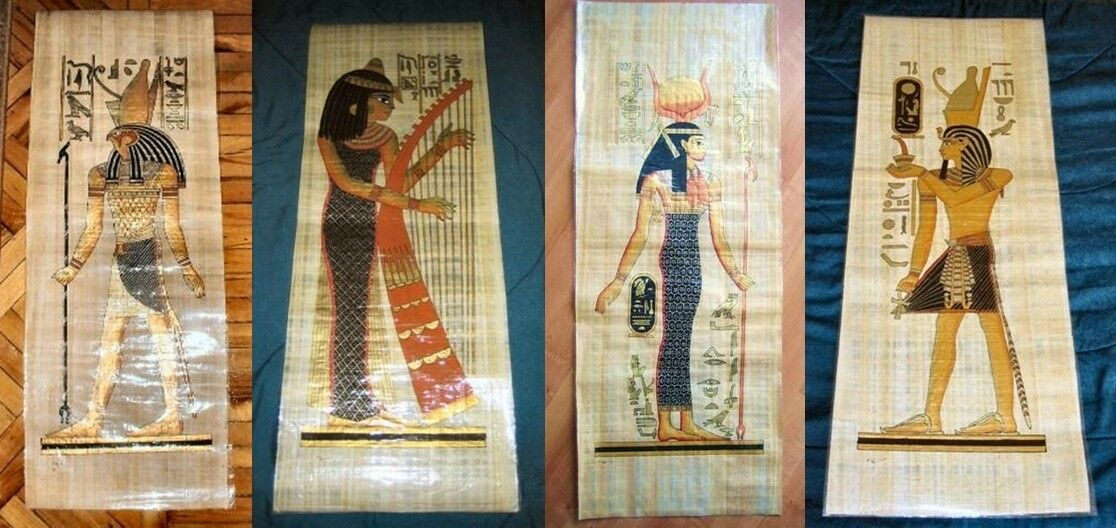 """AUTHENT Collection Set of 4 Handmade Papyrus Egyptian Art Painting_32x12"""" Inches"""