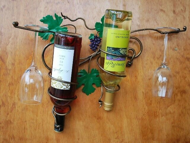 Hand Iron French Vintage GrapeVine Hanging Wine Bottle And Glass Wine Cup Rack