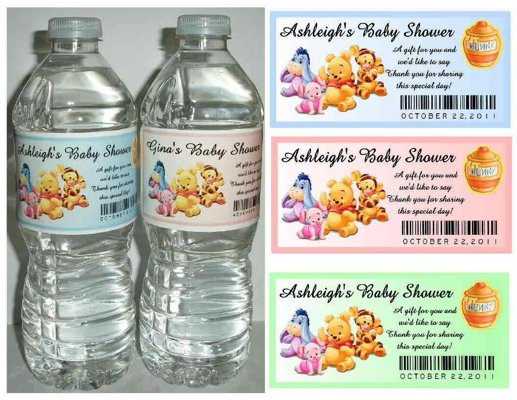 20 Winnie The Pooh Baby Shower Favors Water Bottle Labels Glossy