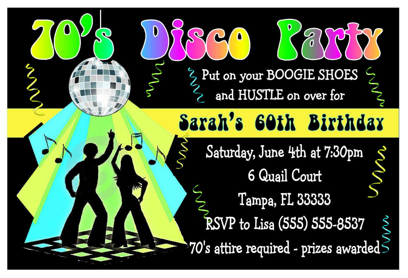 Disco Party Invite for beautiful invitations layout