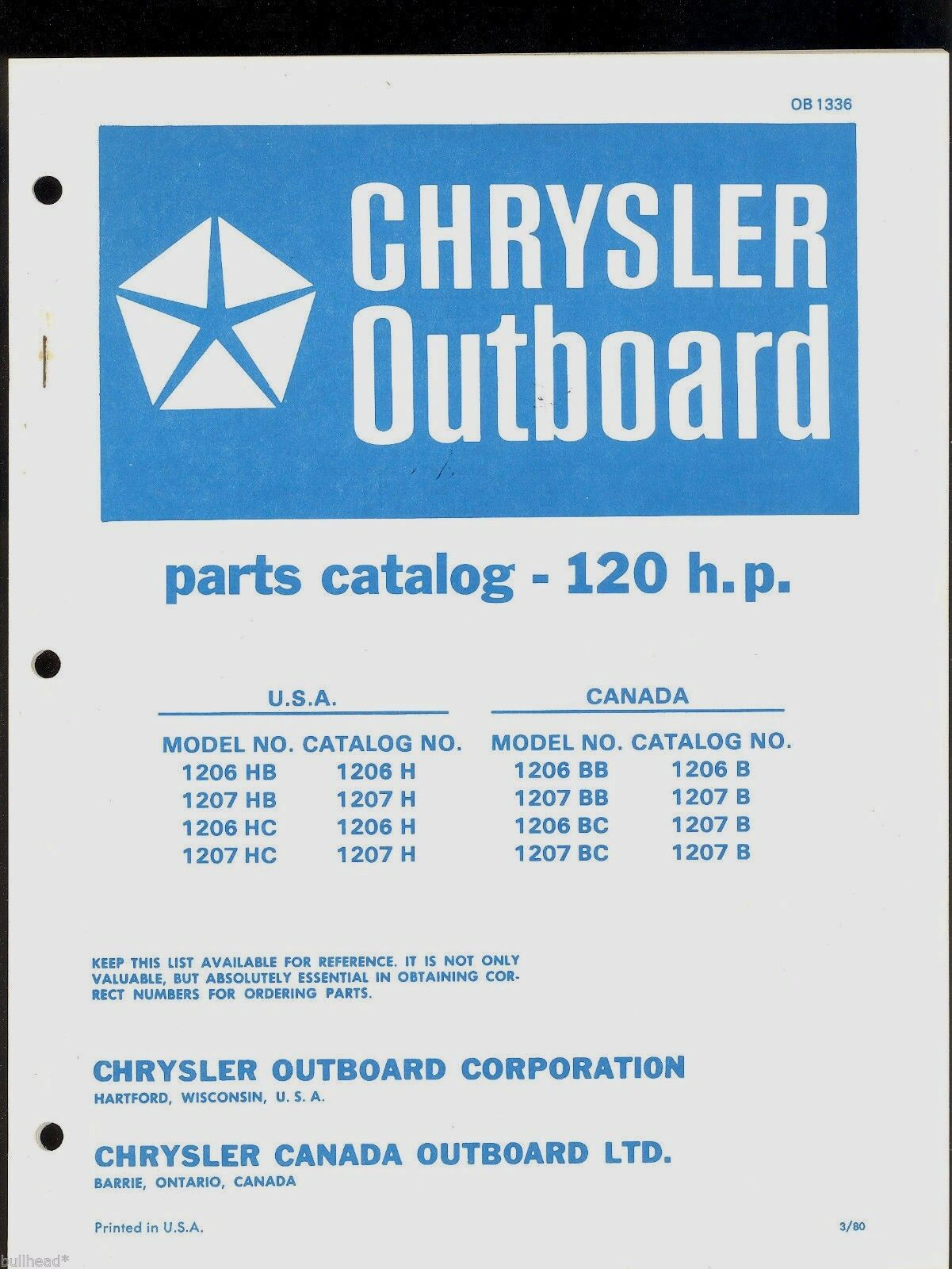 Chrysler 120hp Outboard Motor Parts Manual Ob 1336 1499 Picclick Diagrams 1 Of 1only 2 Available