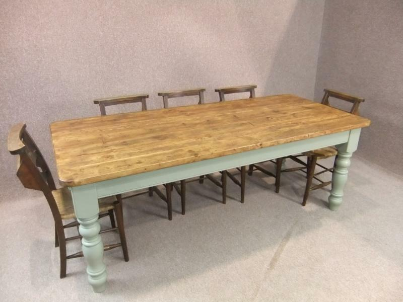 10ft rustic pine farmhouse kithcen table with a painted for 10 foot farmhouse table plans