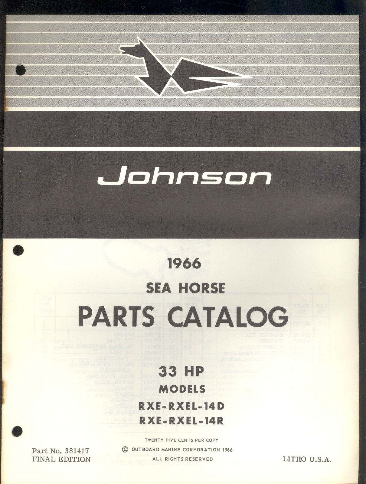 1966 Johnson 33Hp Outboard Motor Parts Manual / Rxe Rxel 14D & 14R / 381417  1 of 1Only 1 available ...