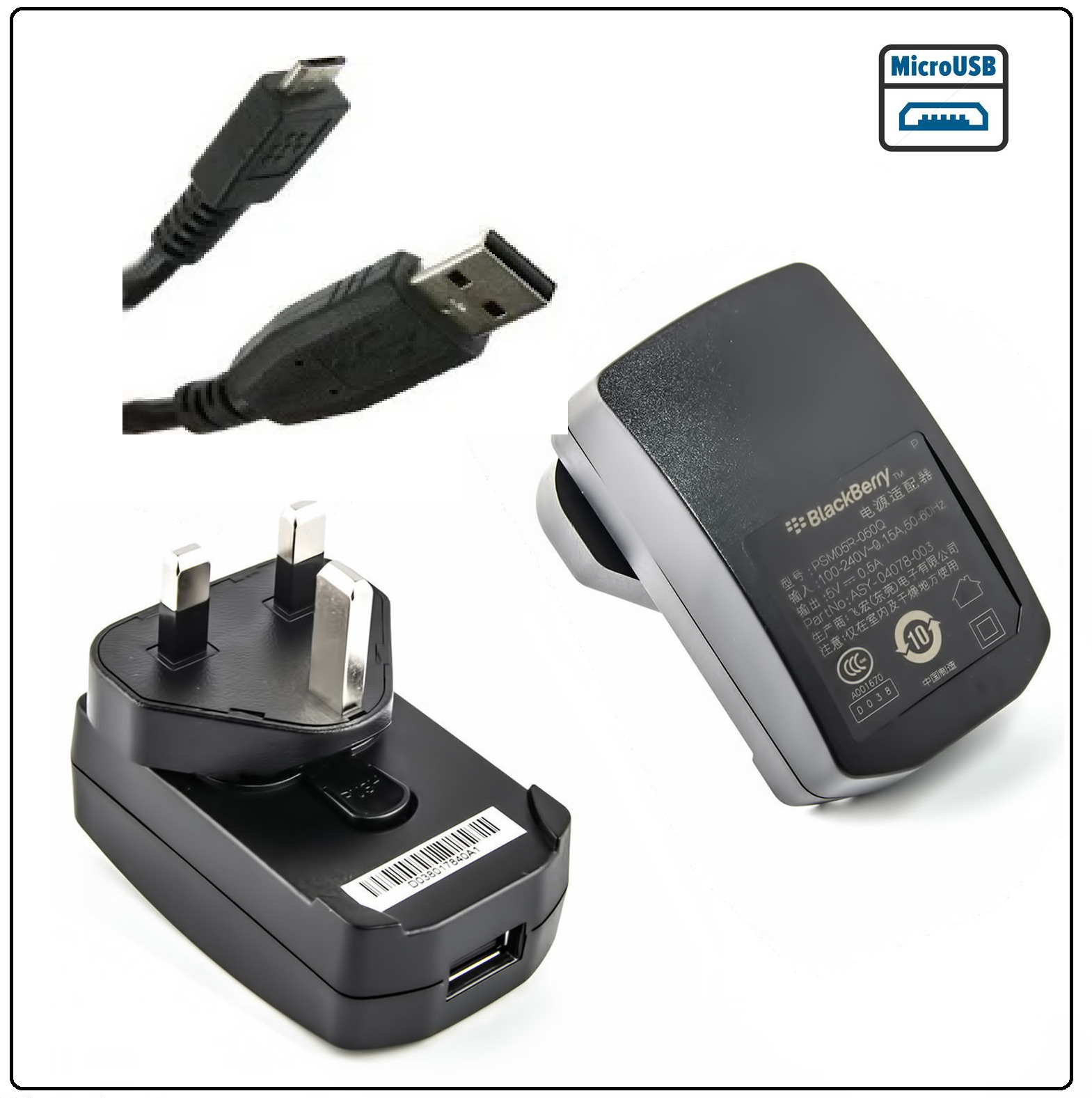 Genuine Blackberry Mains Charger For Bold 9700 9780 9790 Curve 8520 1 Of 2free Shipping