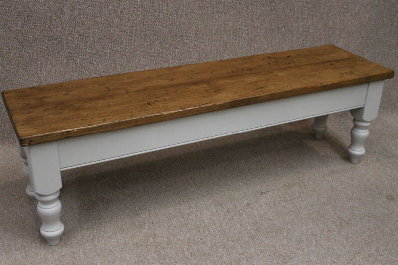 5Ft Handmade Rustic Reclaimed Pine Bench With Farrow & Ball Painted Base