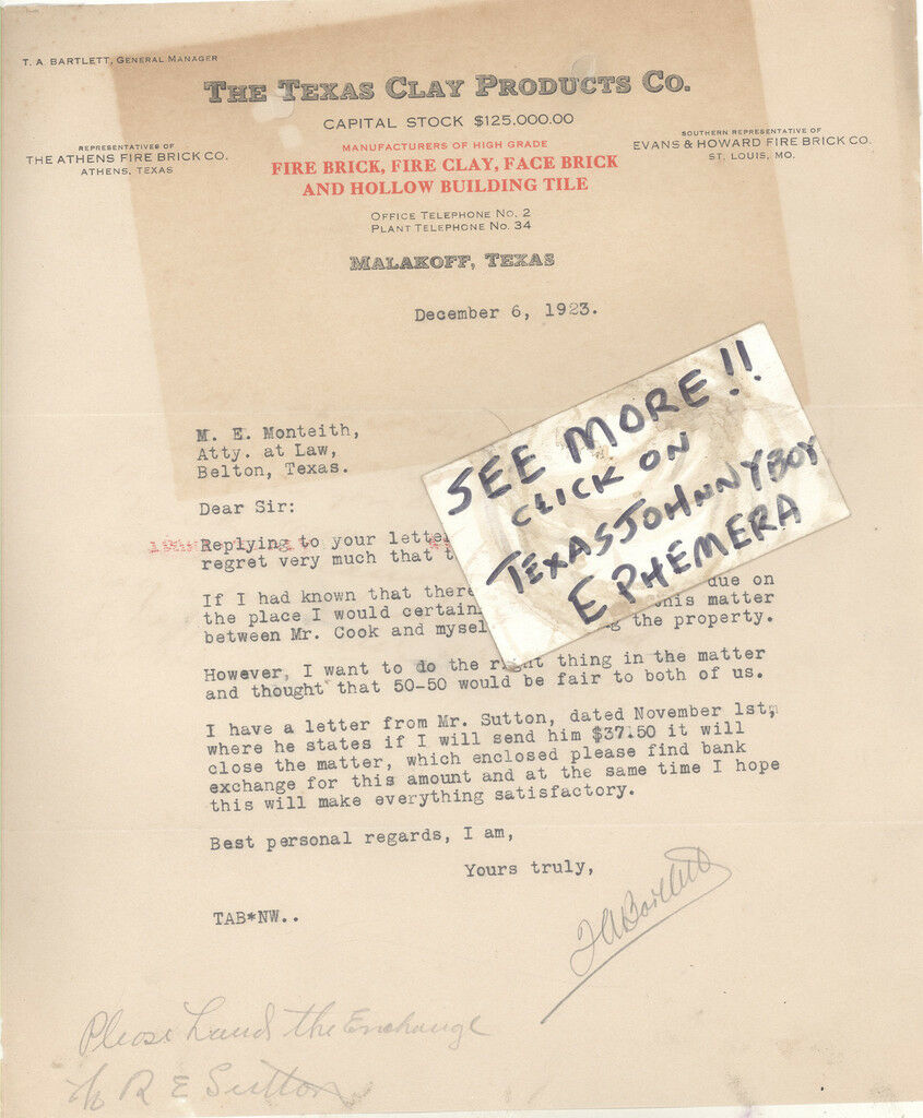 1923 LETTERHEAD MALAKOFF TEXAS CLAY ATHENS FIRE BRICK PRODUCTS T A Bartlett