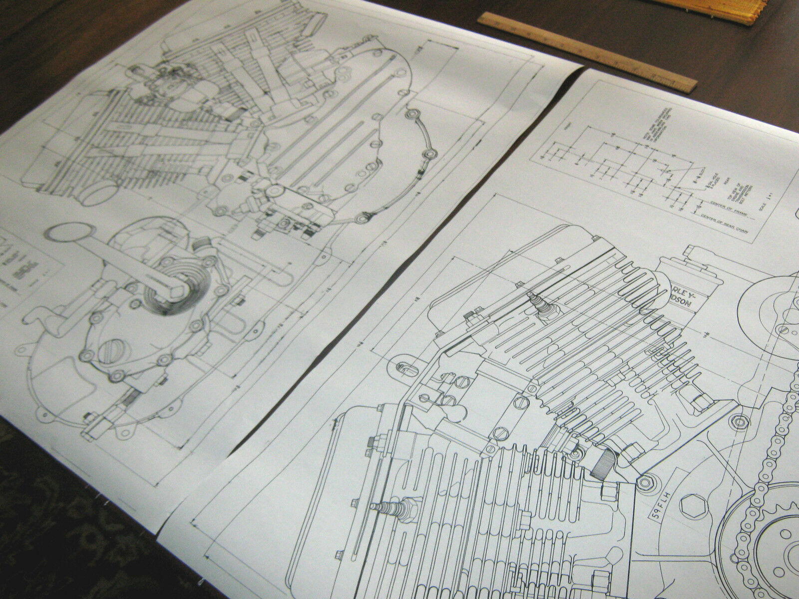 Harley panhead technical drawing set engine blueprint flh for Where to get blueprints printed