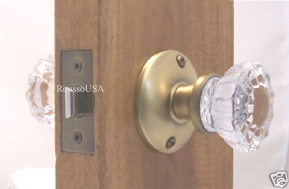 LOT 4  Fluted Crystal Glass & Antique Brass Knob Sets-to fit most modern Doors