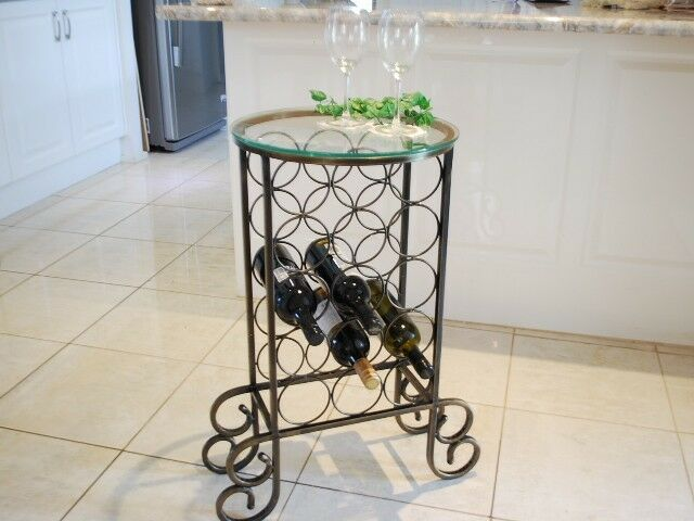 Handmade Iron Elegant  Wine Rack Storage Console Round Glass Top 001