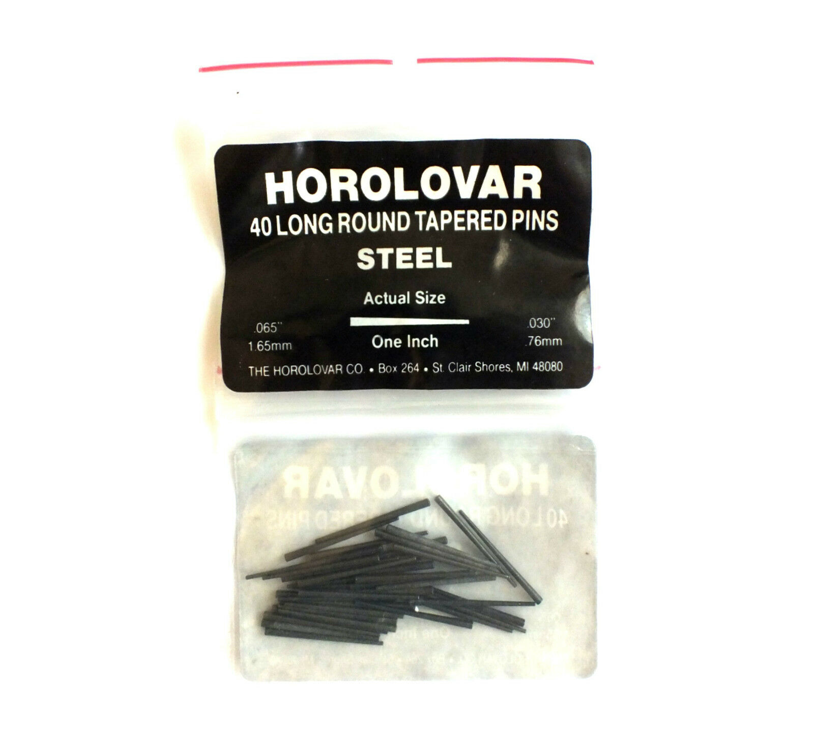 HOROLOVAR MEDIUM STEEL CLOCK TAPER PINS 25mm Long x 0.76mm - 1.65mm