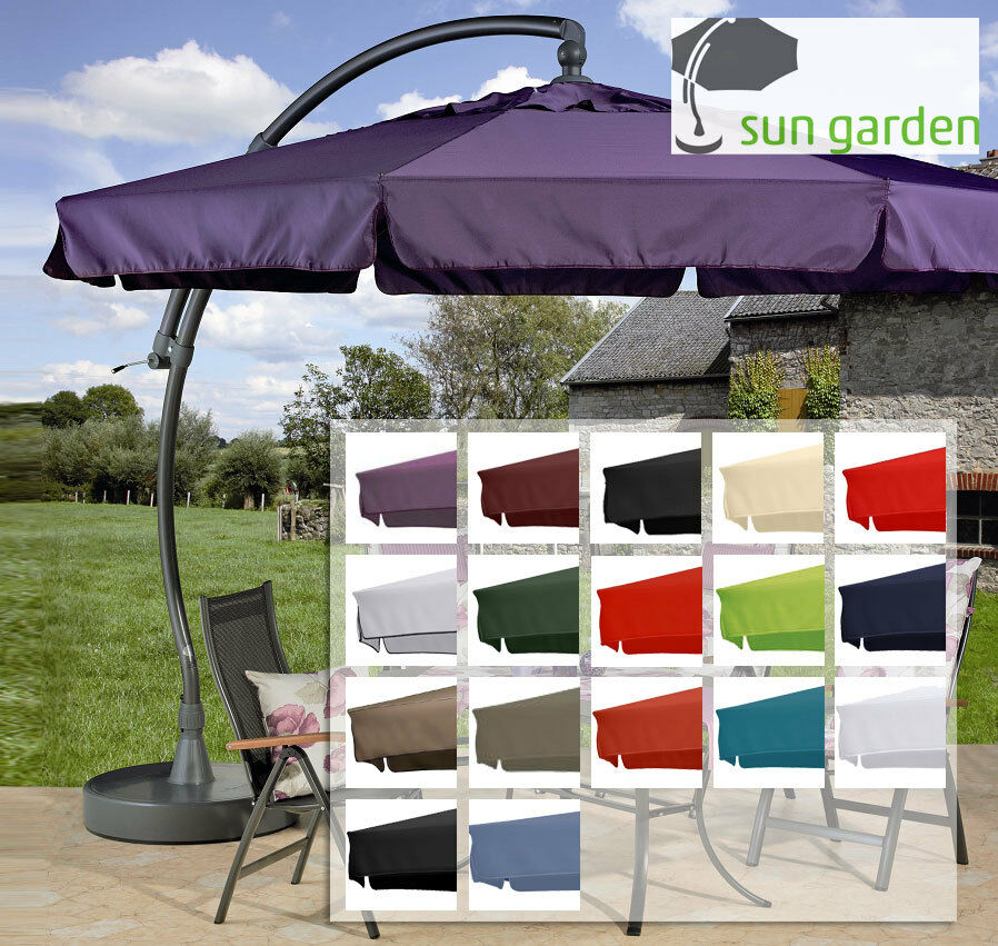 sun garden easy sun parasol ersatzbezug in 16 farben polyester 350 8 schrauben eur 157 90. Black Bedroom Furniture Sets. Home Design Ideas