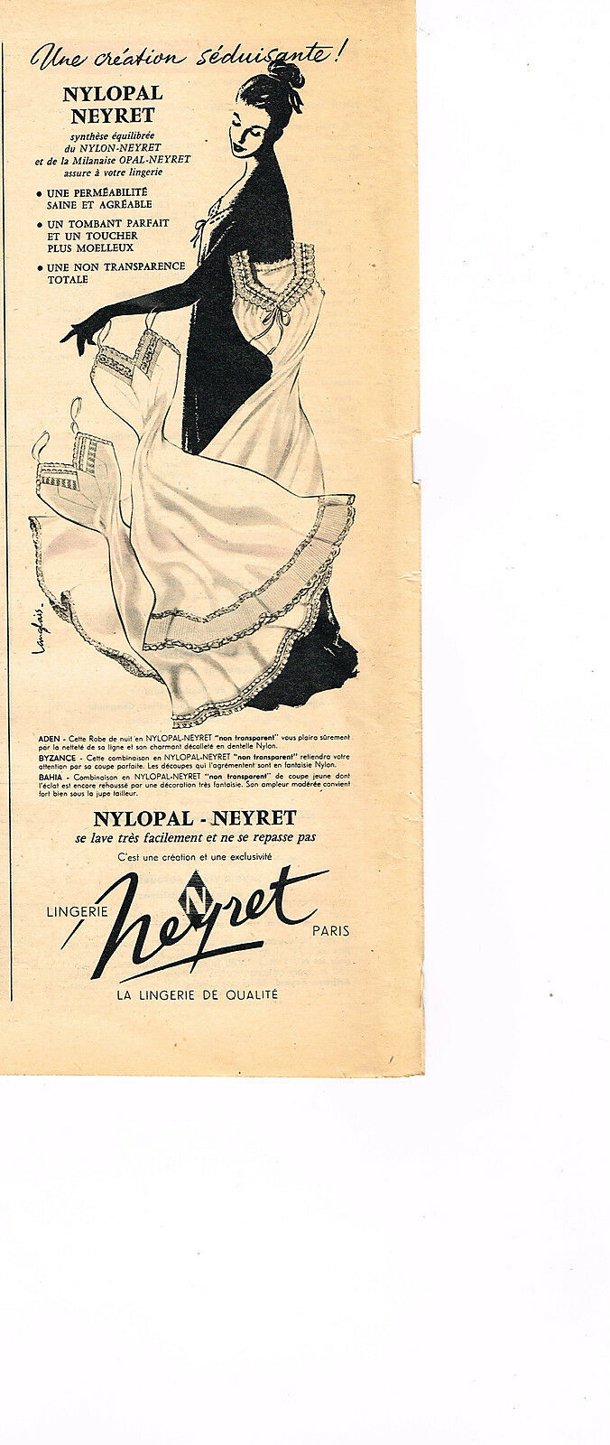 Publicite Advertising 024 1955 Cidena Lingerie Nuisette Breweriana, Beer Collectibles