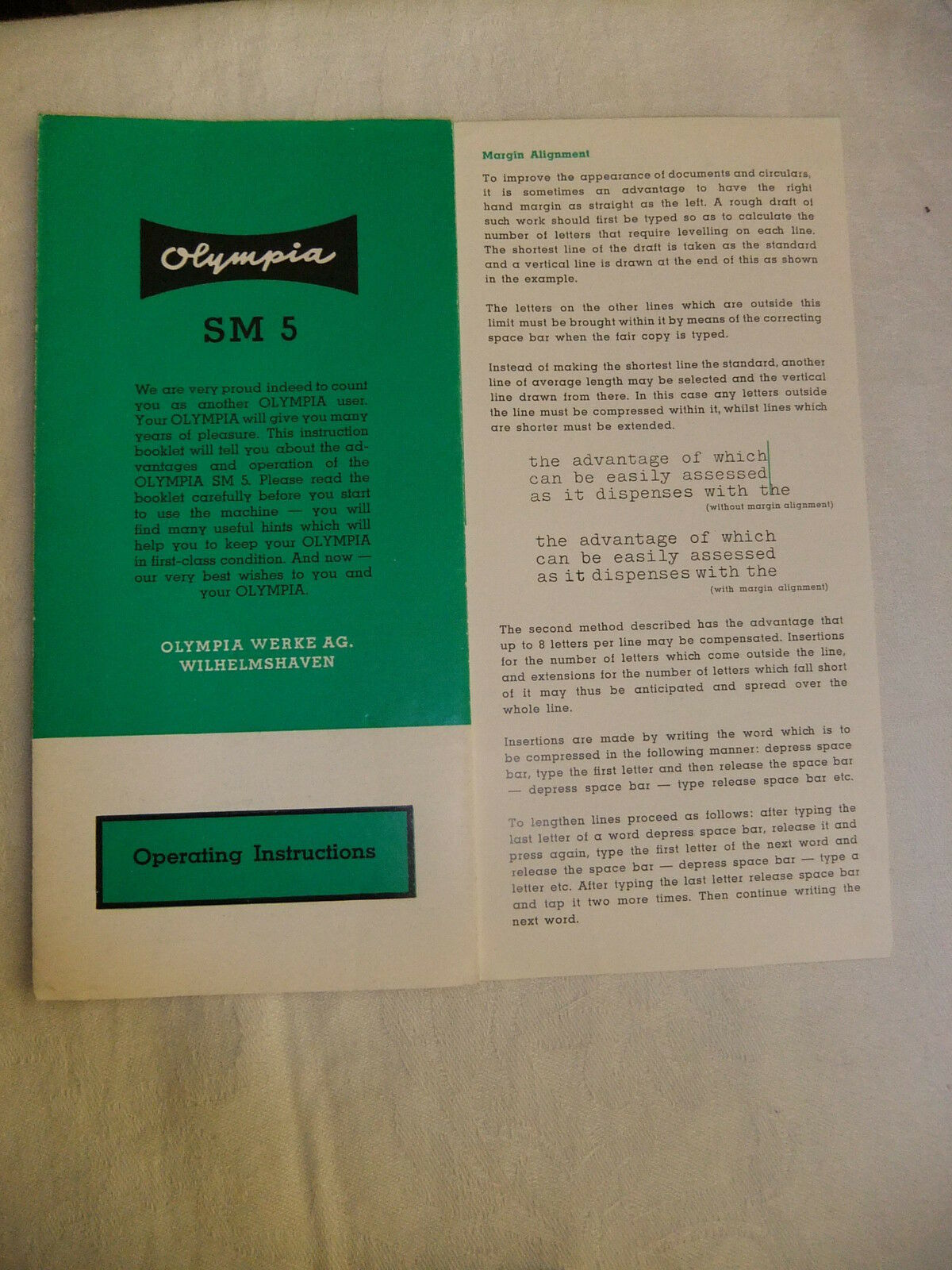 Instructions typewriter OLYMPIA SM 5 - CD / Email