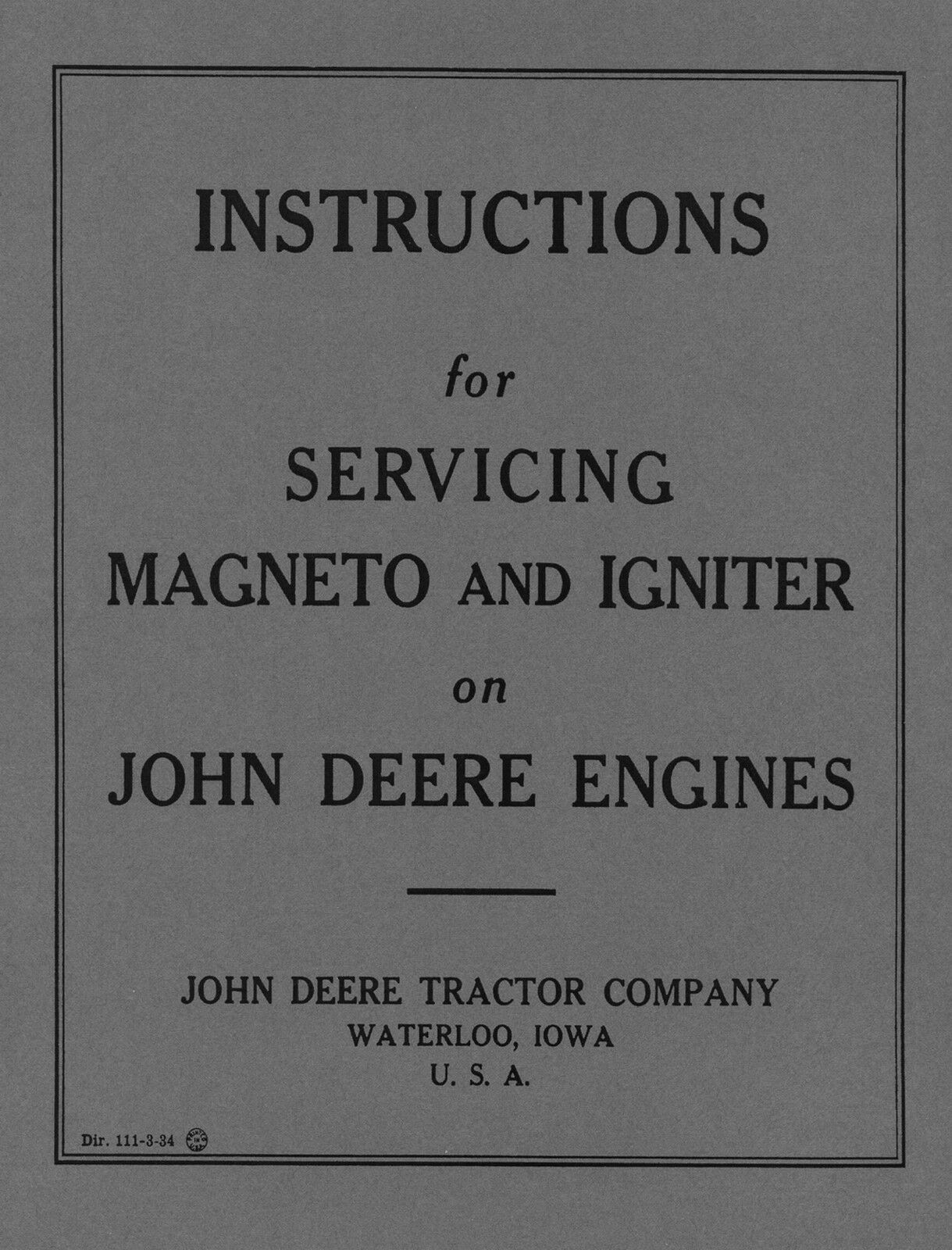 John Deere Magneto And Igniter Service Instructions 899 Picclick Wico Wiring Schematic 1 Of 1free Shipping