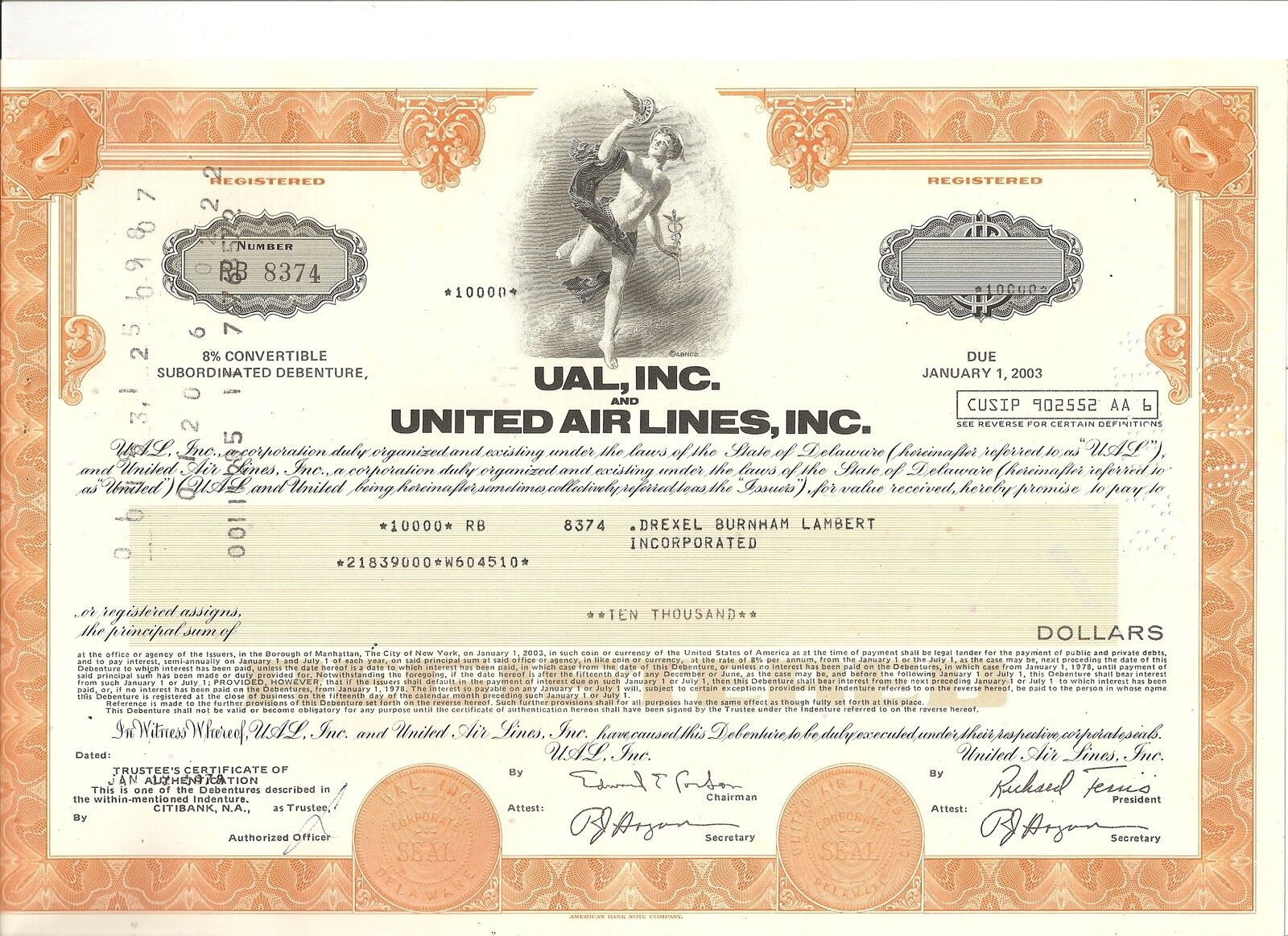 United Airlines UAL authentic stock bond certificate in 1970's aviation history