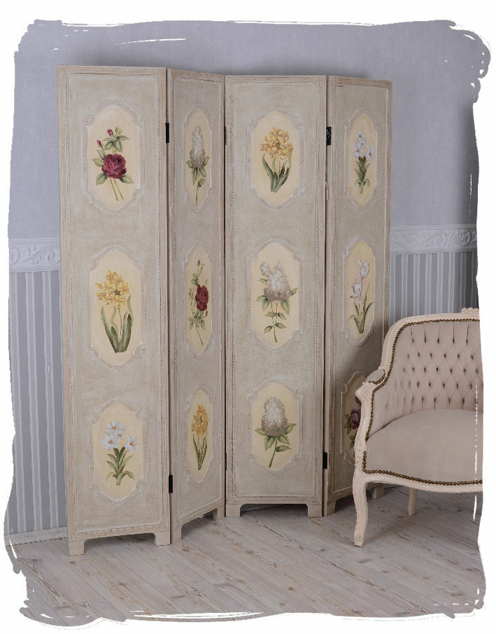 paravent holz rosenmalerei sichtschutz spanische wand landhausstil eur 199 00 picclick de. Black Bedroom Furniture Sets. Home Design Ideas