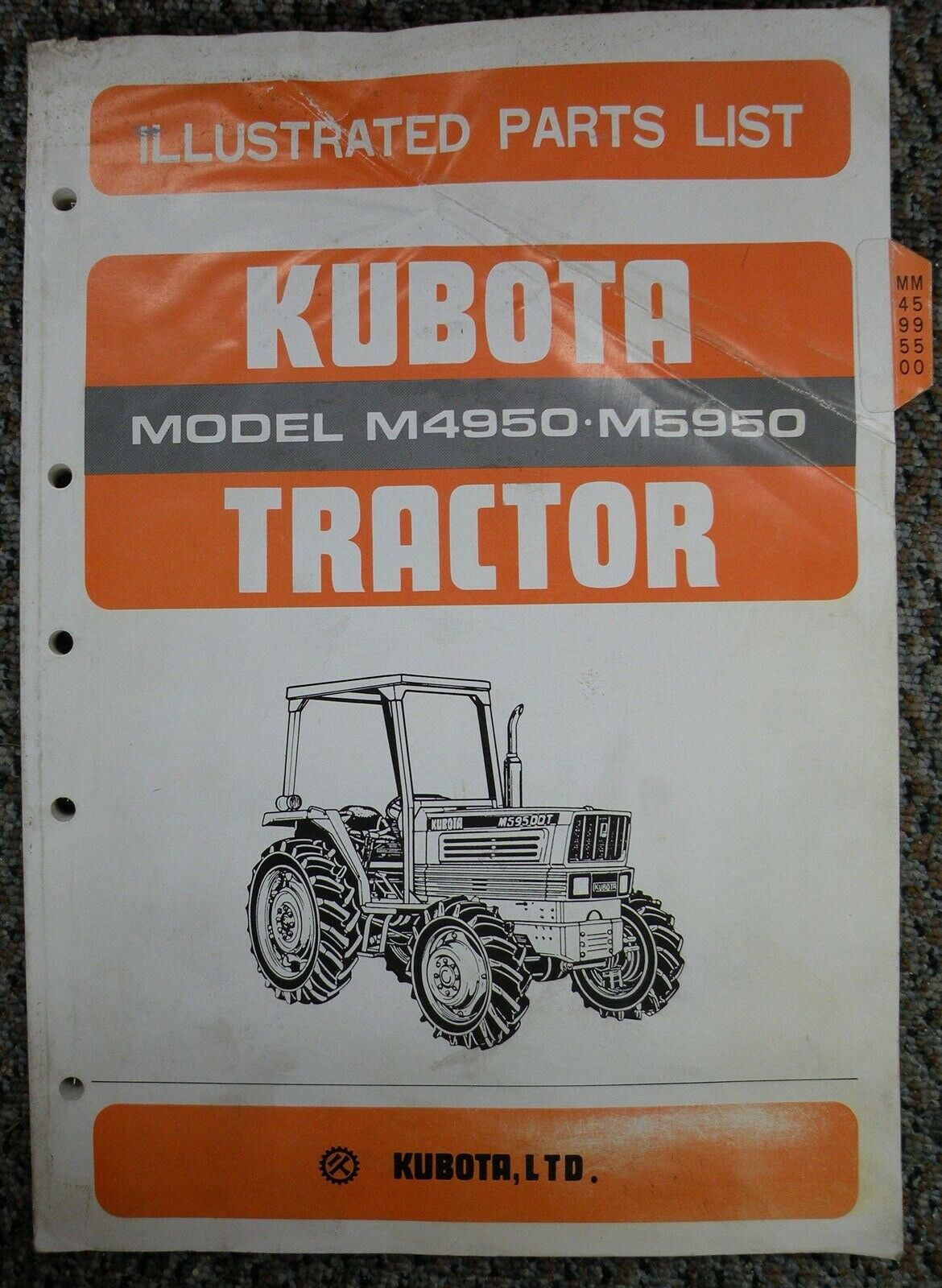 Original KUBOTA Tractor Model M4950/M5950 Illustrated Parts List 1 of 1Only  1 available ...