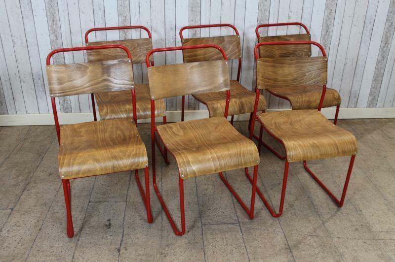 Vintage Industrial Stacking Chairs With Red Frames Large Quantity Available