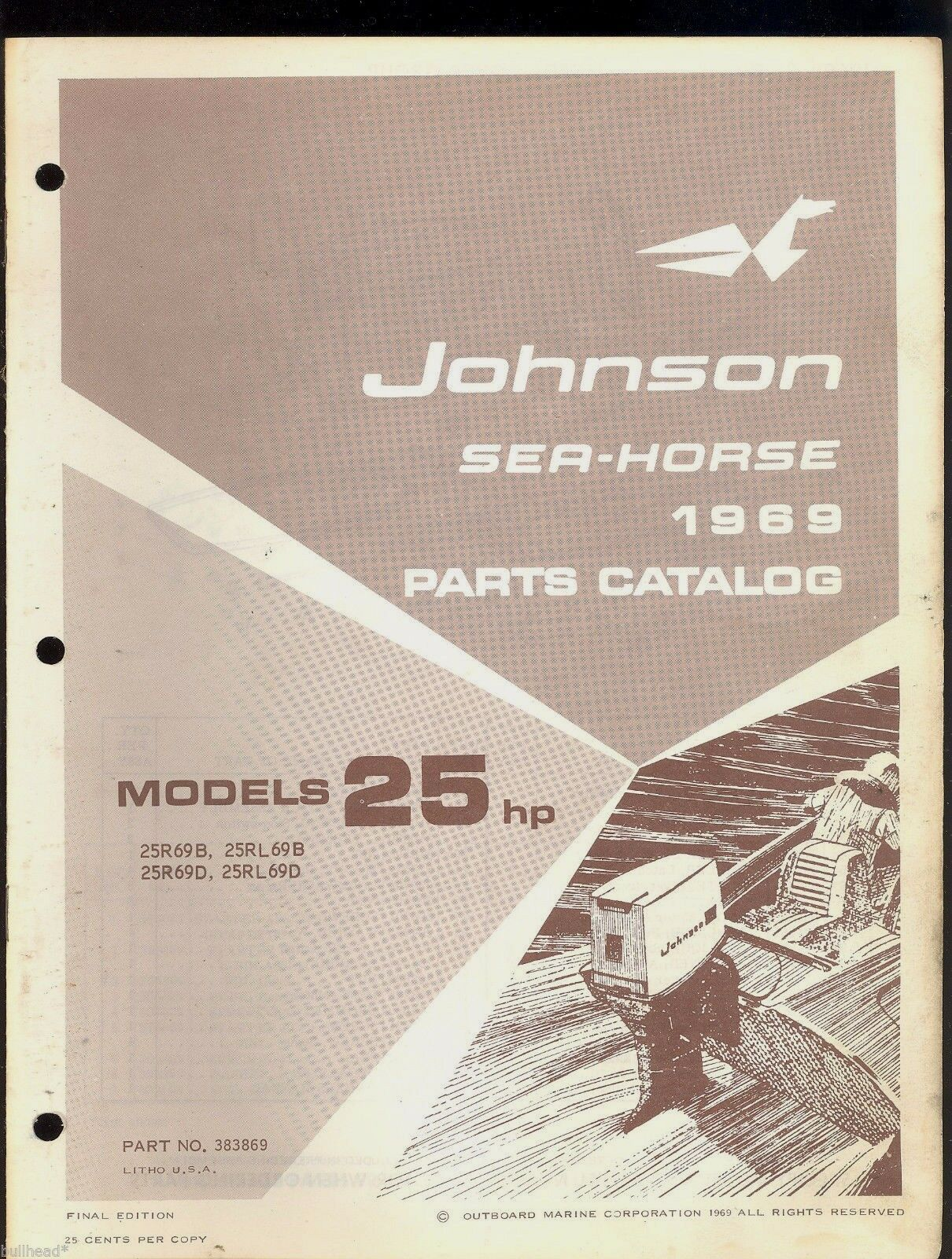 1969 Johnson 25Hp Outboard Motor Parts Manual / 383869 1 of 1Only 3  available ...