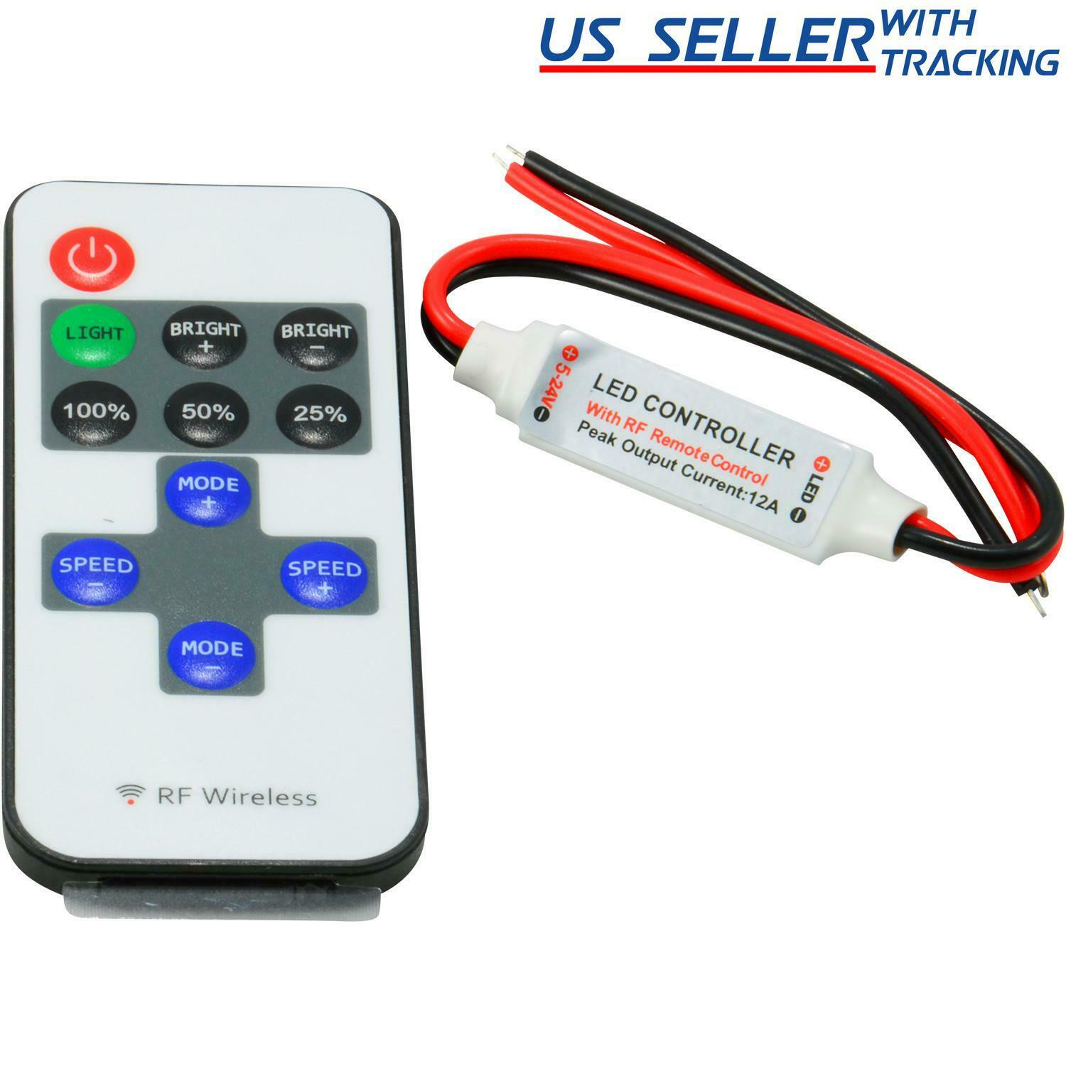 12v Mini Controller Inline Dimmer With Rf Wireless Remote For Led 1 Of 1free Shipping