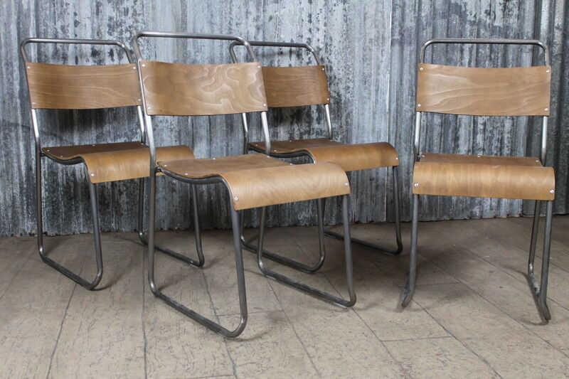 Industrial Style Stacking Chairs Gunmetal Frames And Plywood Seats