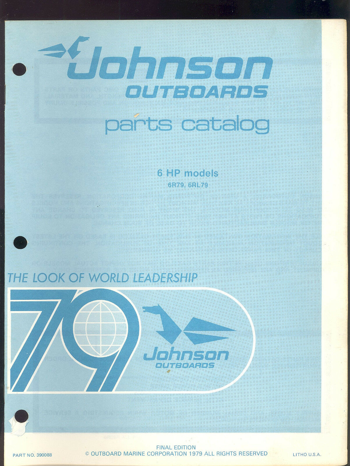 1979 Johnson 6Hp 6R79 / 6Rl79 Outboard Motor Parts Manual / 390088 1 of  2Only 3 available ...