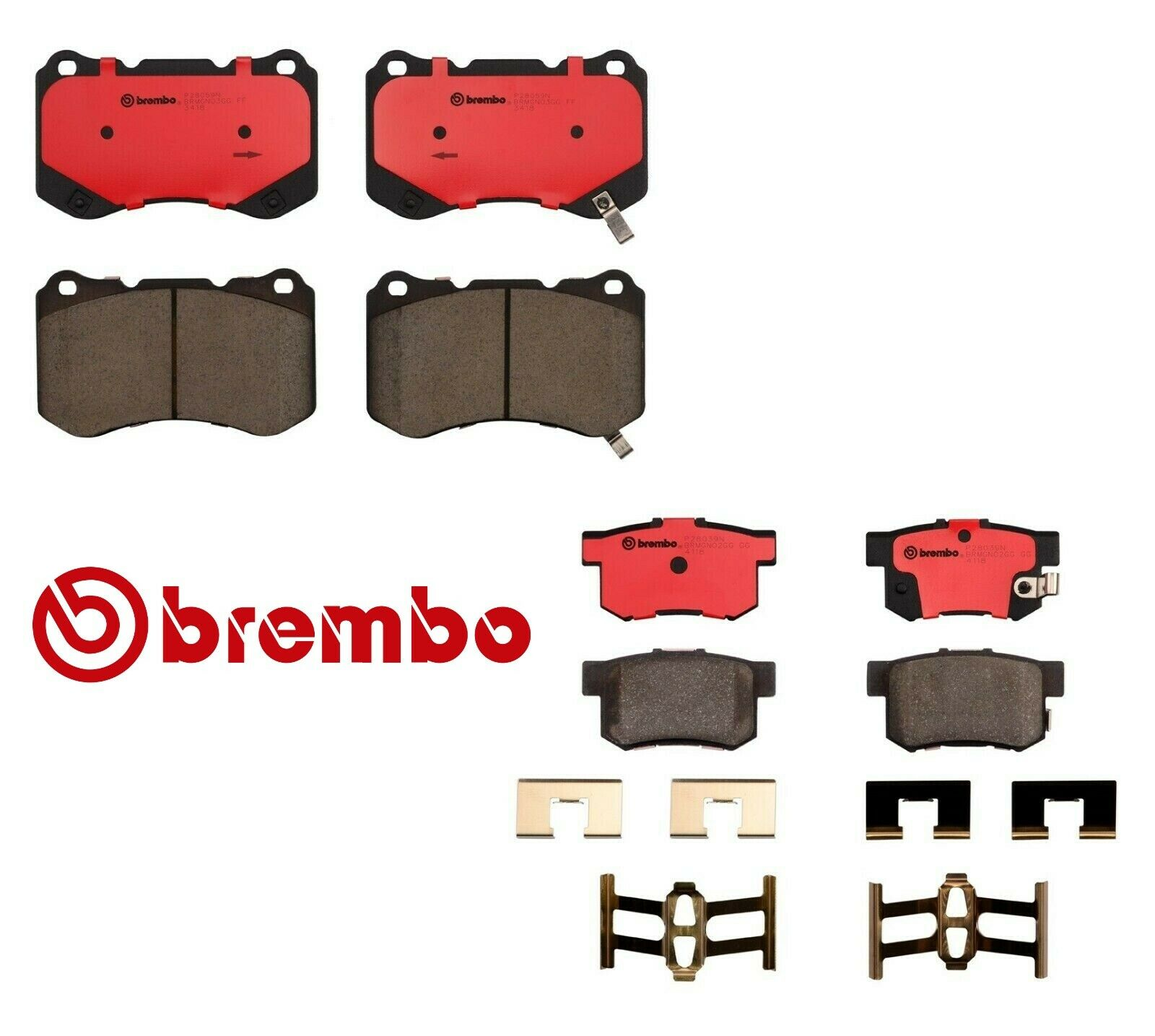 BREMBO FRONT Rear Brake Pads Acura TL TypeS W Bembo Brake System - Acura tl brake pads