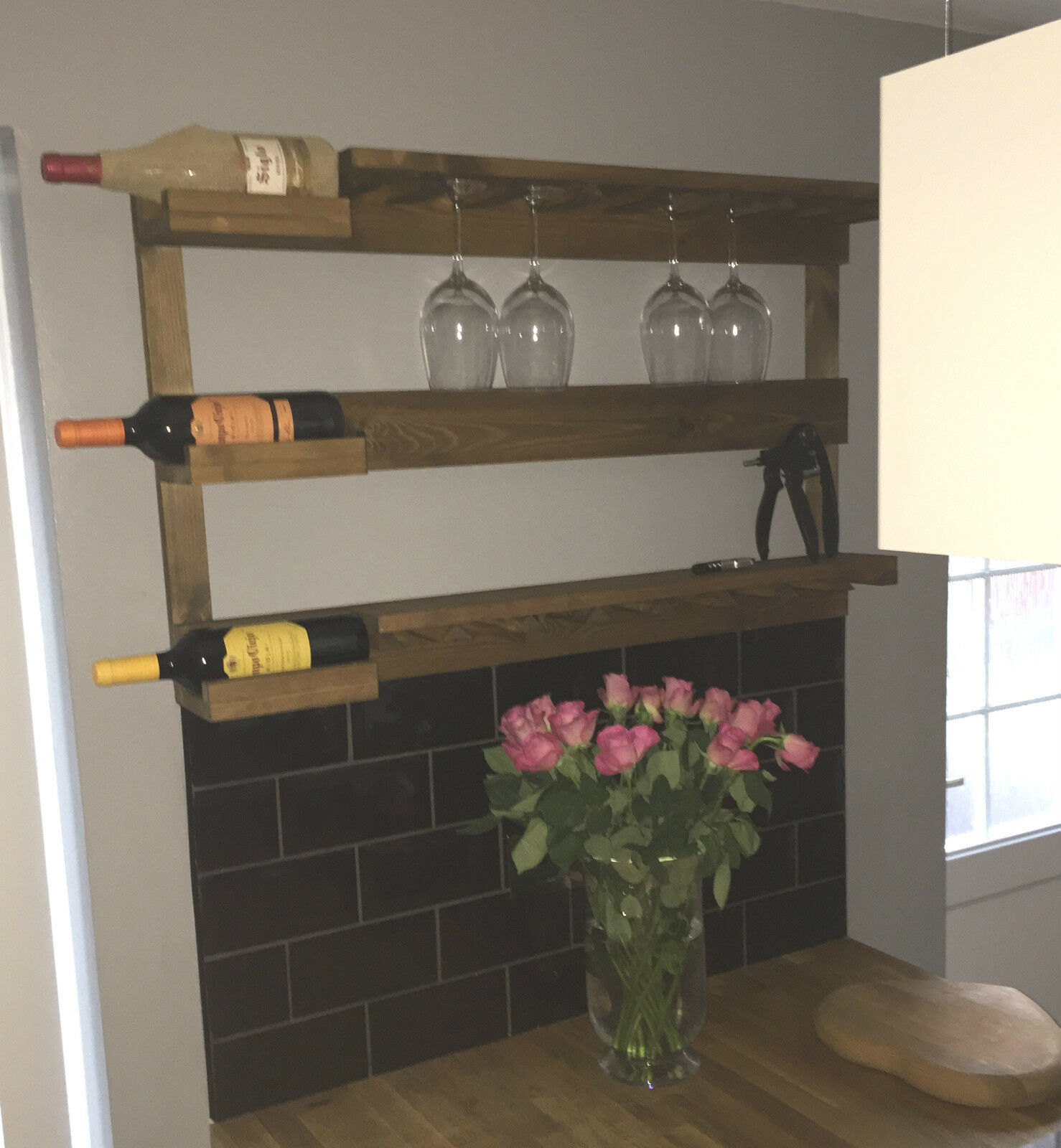 rustic stained wall mounted wine rack with shelves choice. Black Bedroom Furniture Sets. Home Design Ideas