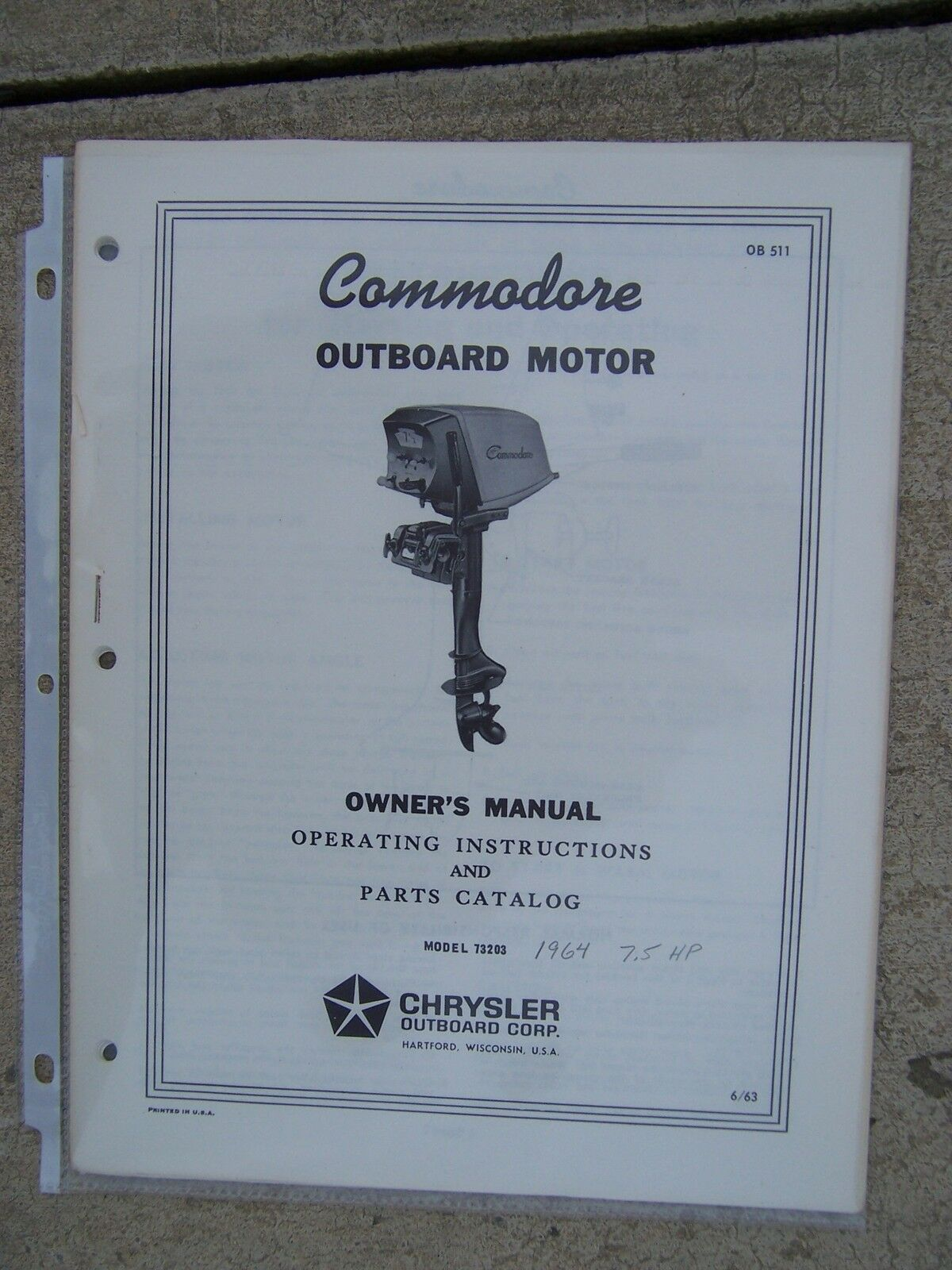 1964 Commodore Outboard Motor 7.5 HP 73203 Owner Manual Parts Catalog  Chrysler U 1 of 1Only 1 available ...