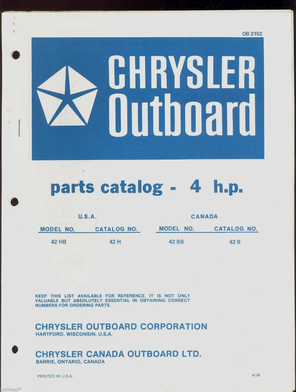 Chrysler 4Hp Outboard Motor Parts Manual / Ob 2152 1 of 2Only 1 available  Chrysler ...