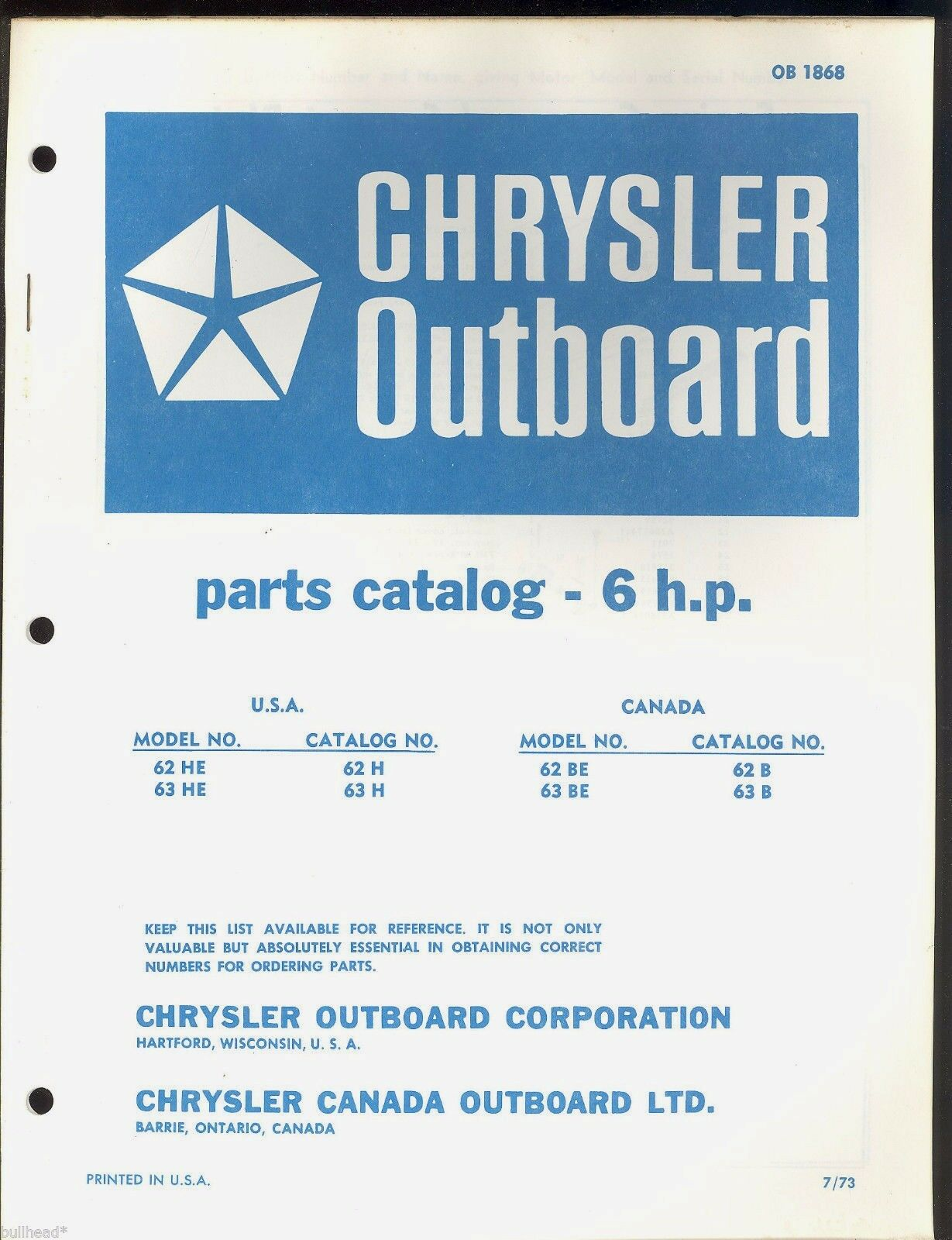 Chrysler 6Hp Outboard Motor Parts Manual / Ob 1868 1 of 3Only 1 available  ...