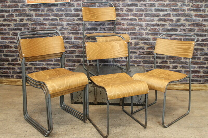 Industrial Retro Original Stacking School Chairs Large Quantity Available