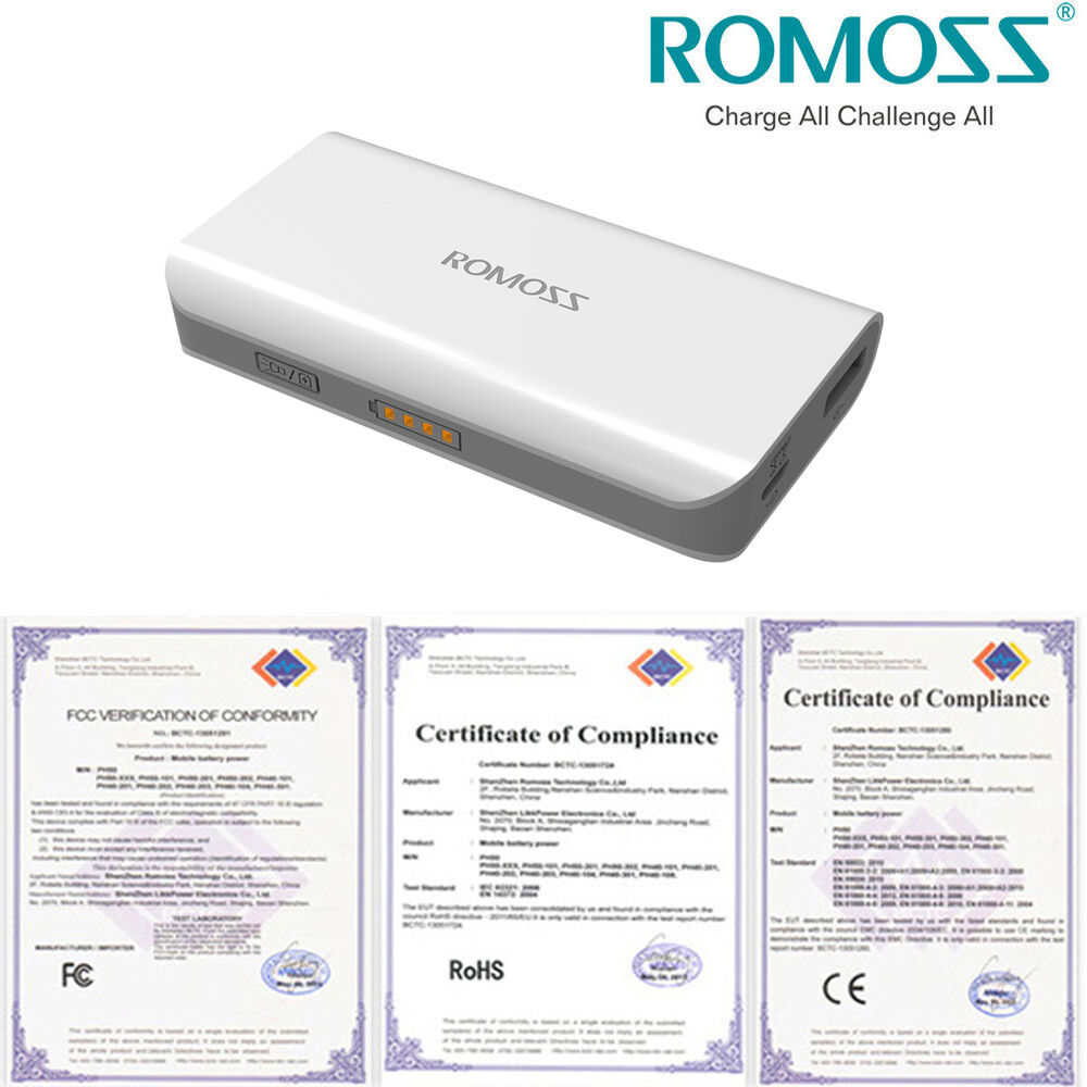 Romoss 4000mah Usb Portable Charger External Battery Power Bank For Full Compliance Phone Tablet 1 Of 5free Shipping